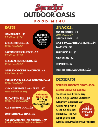 OUTDOOR OASIS beer MENU PAGE